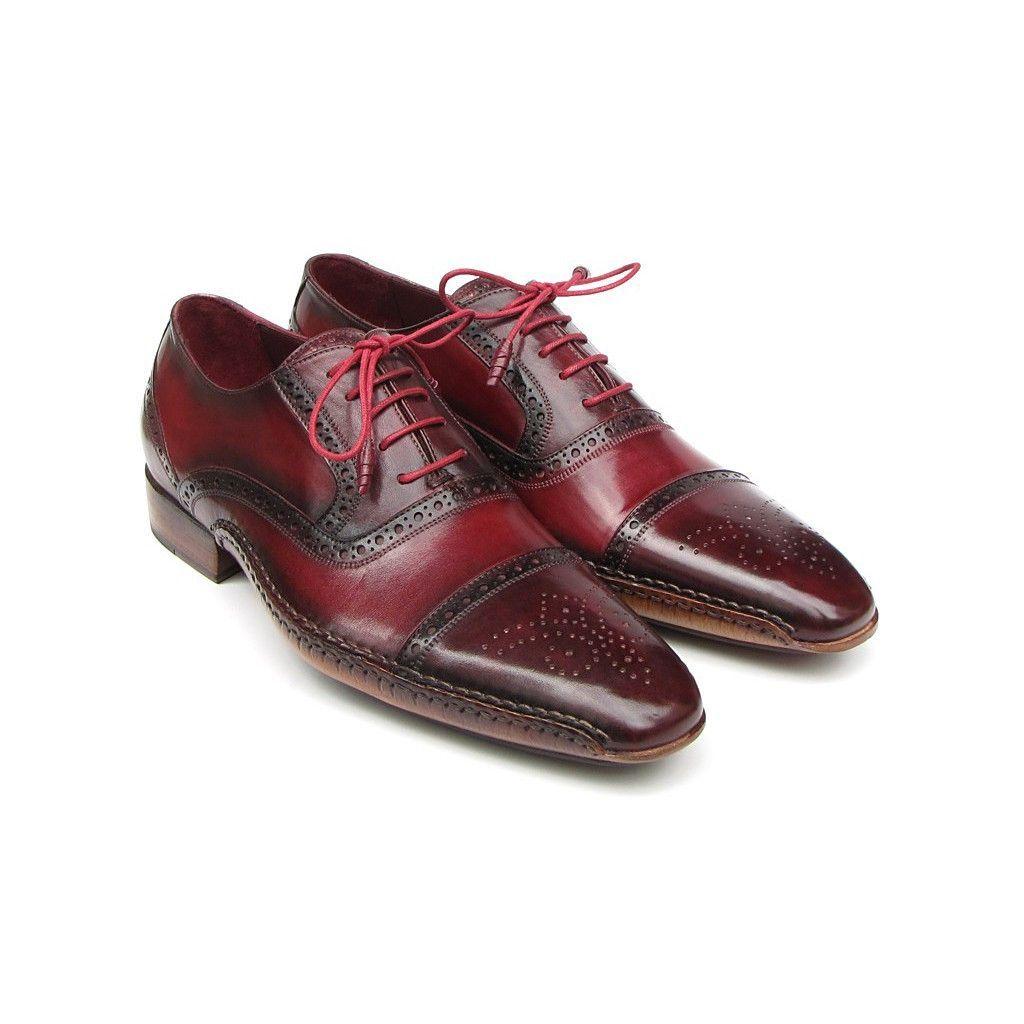 Paul Parkman Men's Side Handsewn Captoe Oxfords - Red / Bordeaux (ID#5032-BRD)