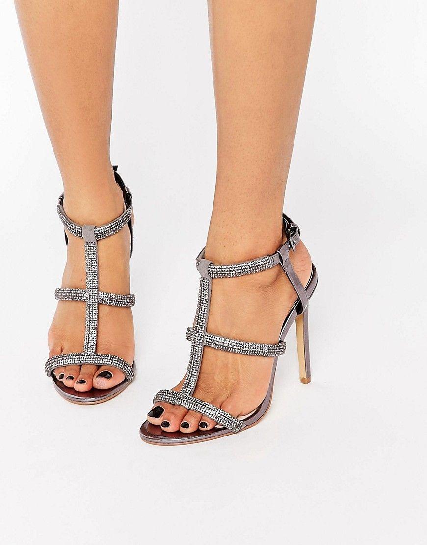 51d5ec1f9e65 Image 1 of Faith Laroux Metallic Embellished Strappy Heeled Sandals ...