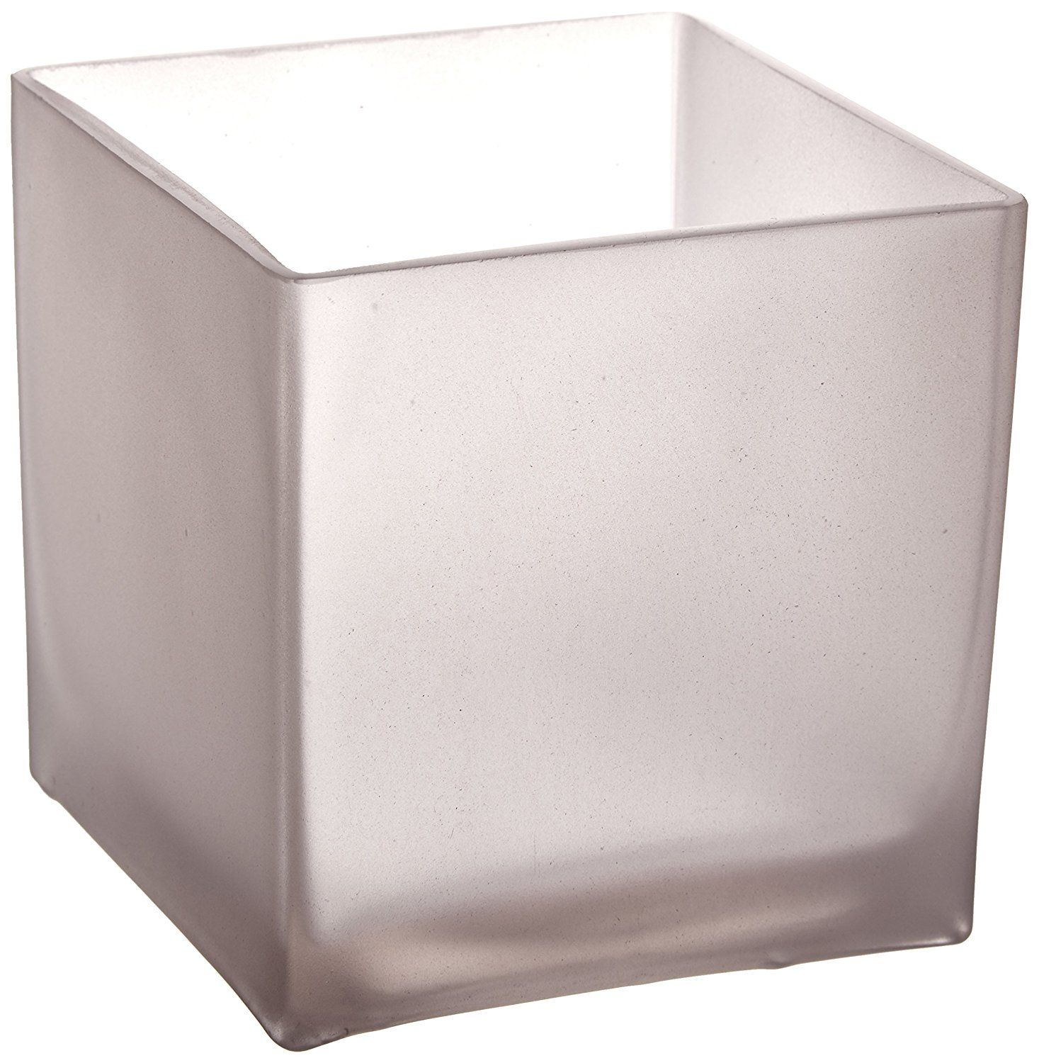 Wgv frosted square cube glass vasevotive candle holder inch