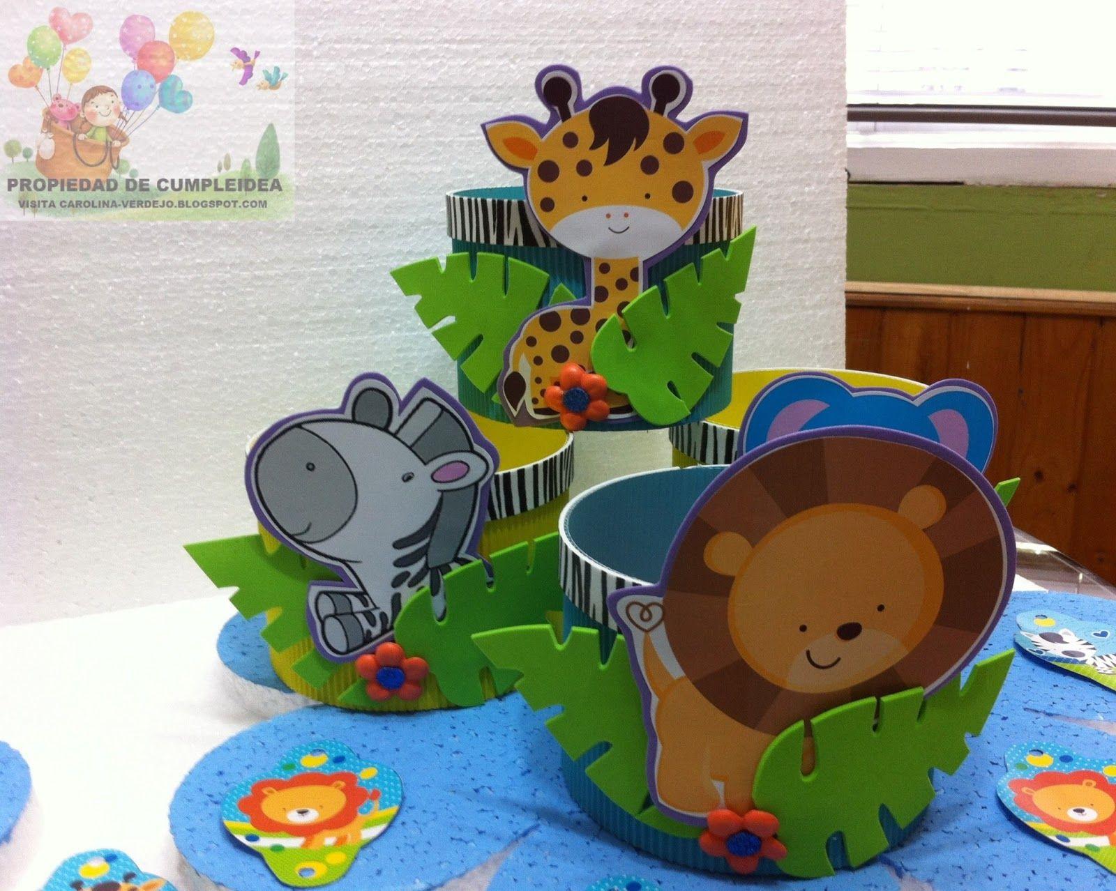 Centros de mesa infantiles animales de la selva buscar for Mesas cumpleanos infantiles