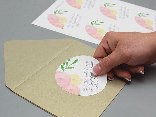 diy wedding address labels with watercolor flowers from downloadandprint prints on avery 5295