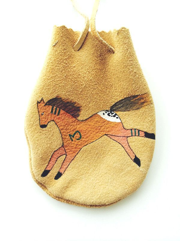 HAND-PAINTED NATIVE AMERICAN LEATHER MEDICINE BAGS