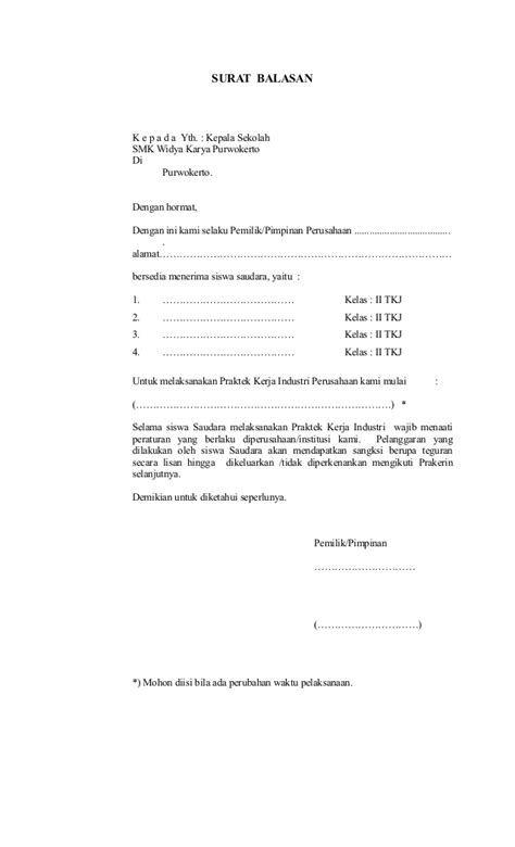 Contoh Surat Balasan Dari Perusahaan Untuk Penelitian