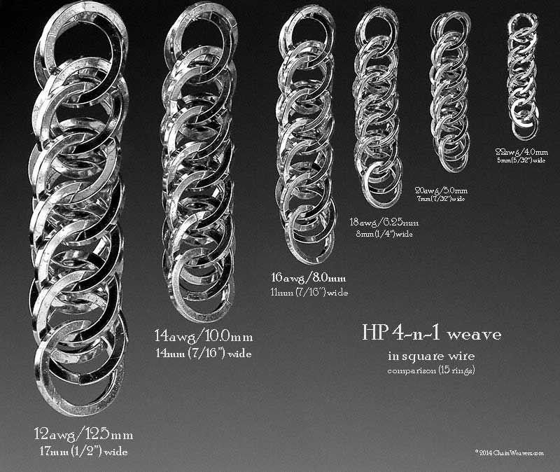 Half Persian 4 In 1 Weave Comparison Chart Of Squared Ring Sizes Based On 15 Rings Chain Maille Jewelry Chainmail Jewelry Chains Jewelry