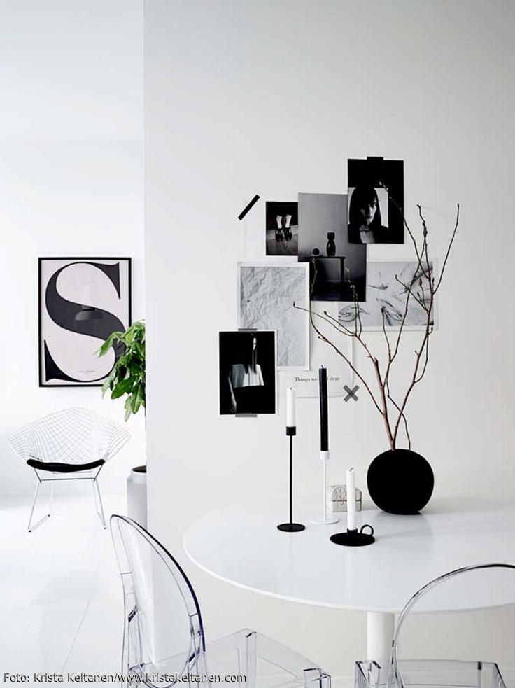 Monochromes Apartment in Helsinki Clean, schwarz-weiß \u2013 und