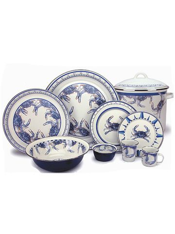 Blue Crab Enamelware from Golden Rabbit  sc 1 st  Pinterest & Blue Crab Enamelware from Golden Rabbit | Beth\u0027s Taigan Patio Picks ...