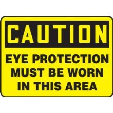 """Accuform Signs, Caution Eye Protection Must Be Worn In This Area, 7"""" X 10"""", Plastic"""