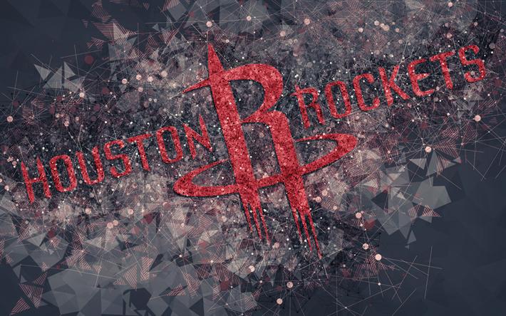 Download Wallpapers Houston Rockets 4k Creative Geometric Logo American Basketball Club Creative Art Nba Emblem Mosaic Red Abstract Background National National Basketball Association Geometric Logo Houston Rockets