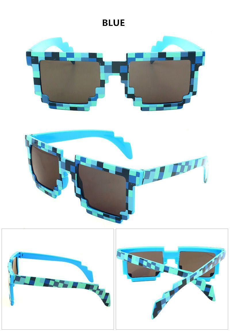 fdf4edfbb4a62 Minecraft Inspired 8 Bit Pixel Sunglasses Mosaic Sun Glasses Glasses Boys  Girls