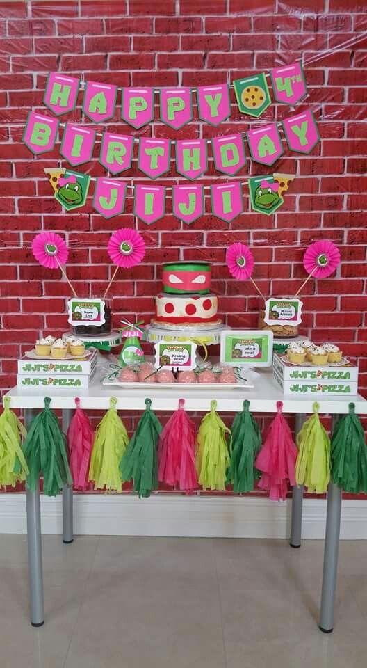 Girl Tmnt Party Cake Table Ninja Turtles Birthday Party Tmnt Birthday Ninja Turtle Birthday