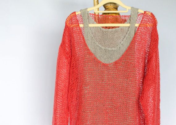 84ef35633f2 Coral Red Mohair Sweater Loose Knitted Tunic V Neck by MyAqua | Cozy ...