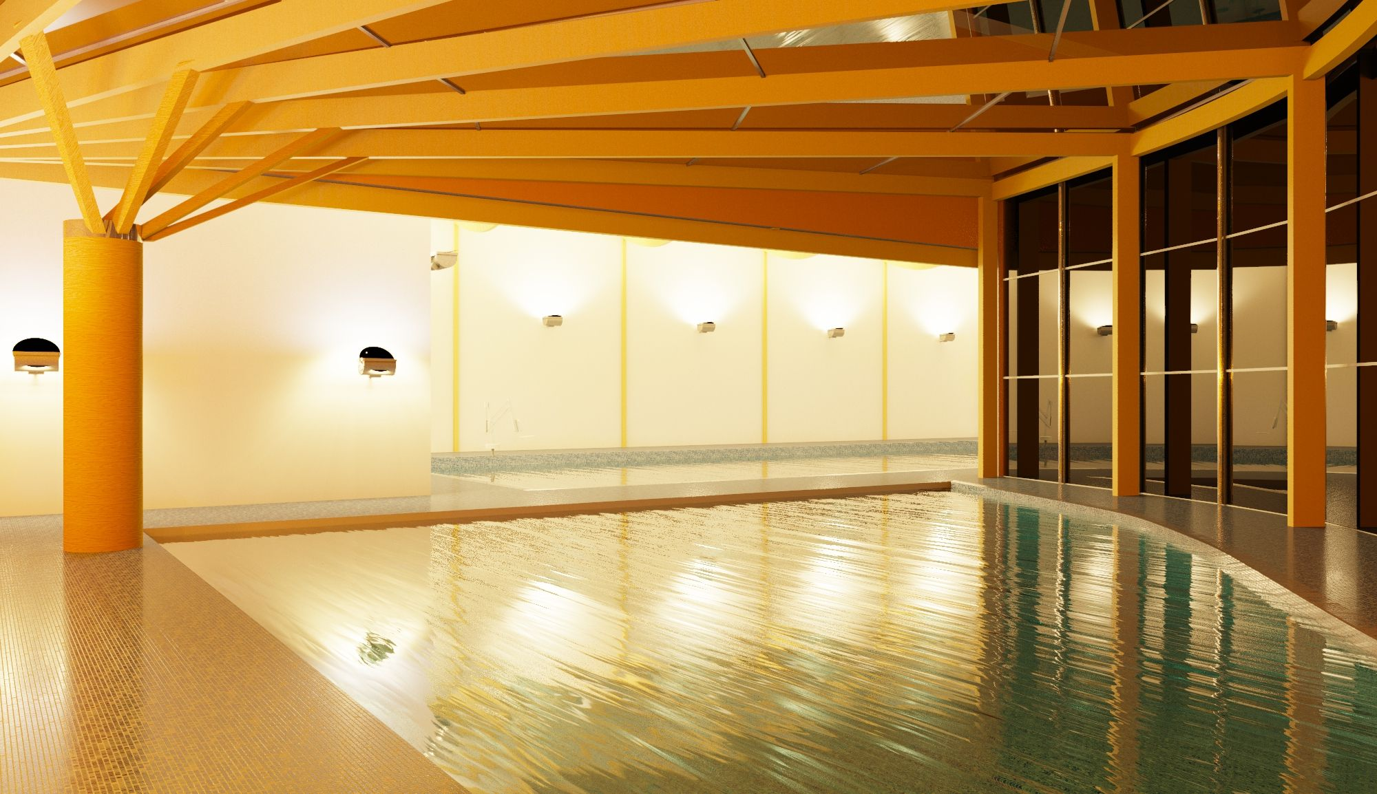 Swimming Pool At Night Revit Render Architecture Work Pinterest Swimming Pools And