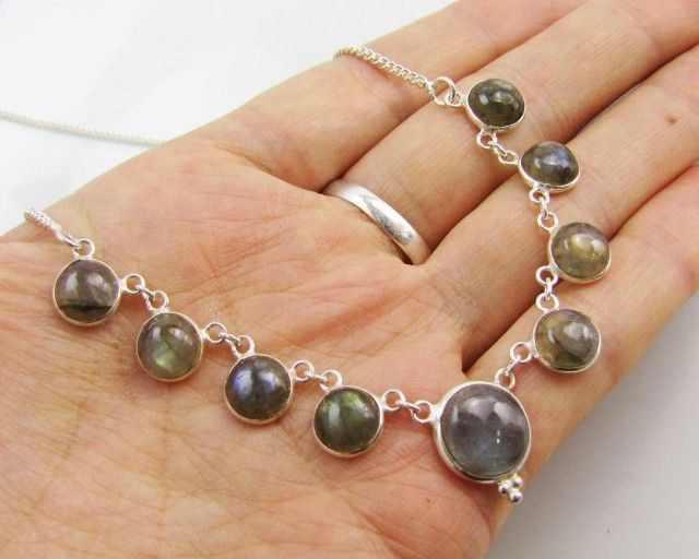 44CTS MADAGASCAR  LABRADORITE  NECKLACE  MJA 968  NATURAL LABRADORITE BEADS NECKLACE FROM GEMROCKAUCTIONS.COM