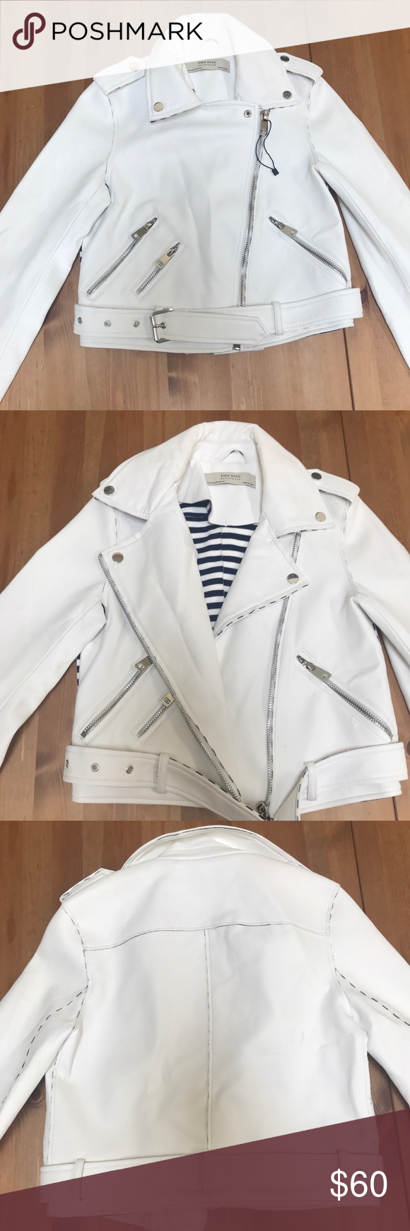 Zara Basics White leather jacket NWOT faux leather biker