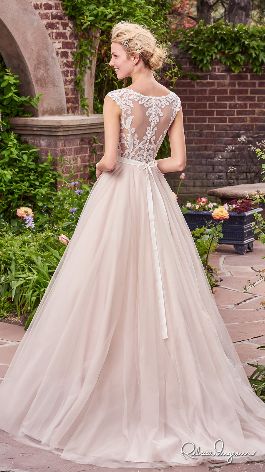 rebecca ingram 2017 bridal cap sleeves illusion bateau neckline heavily embellished bodice ivory color romantic illusion back chapel train (carrie) bv