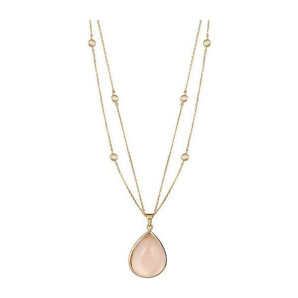 Jenny Perl Rose Quartz Cabachon Necklace found on Polyvore