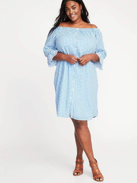 447fe5b32ec Old Navy Plus-Size Off-the-Shoulder Gingham Shirt Dress