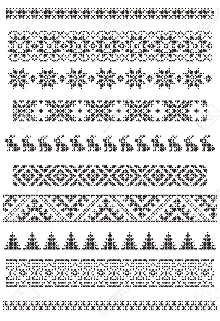 Reihe von Grenzen, Stickereien Kreuz, Vektor-Illustration | Muster ...