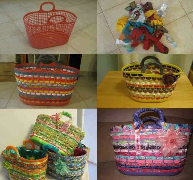 Decorate A Plastic Basket With Scrap Fabrics Homemade Gift Bags