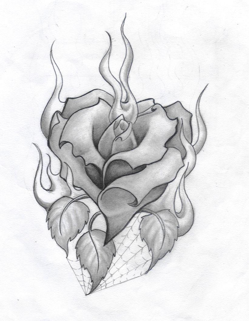Burning Rose Heart Tattoo Design Drawings Roses Drawing Badass Drawings