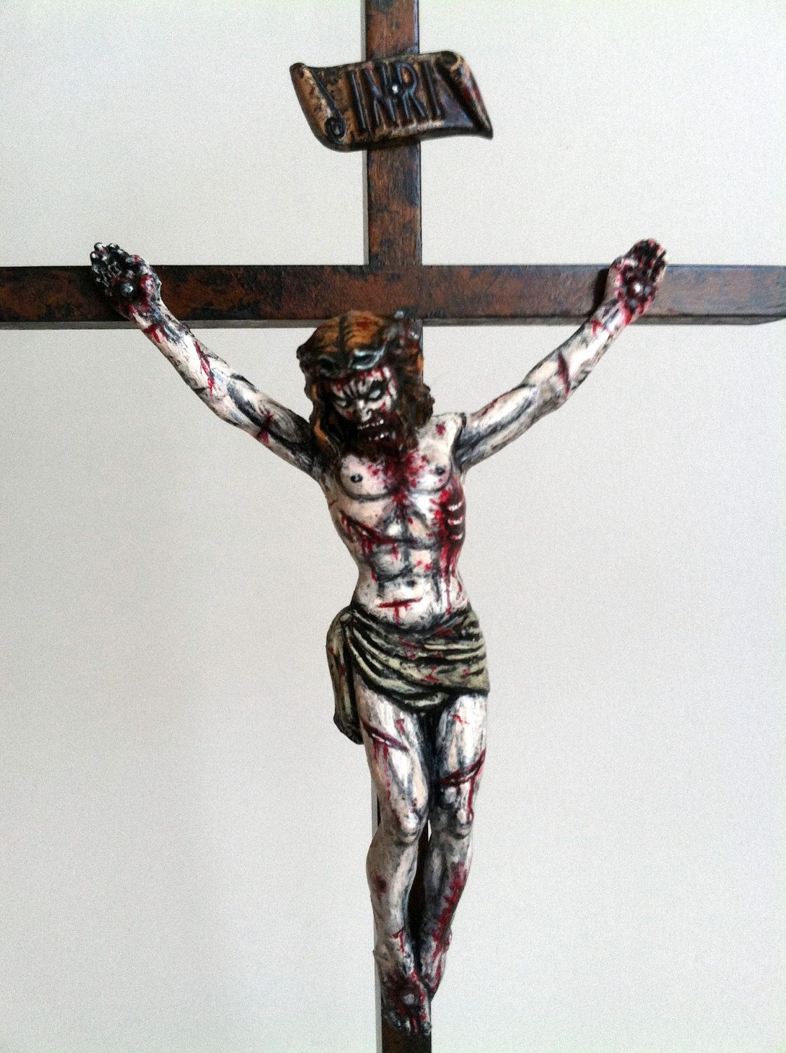 zombie jesus on cross painted sculpture crucifix with stand