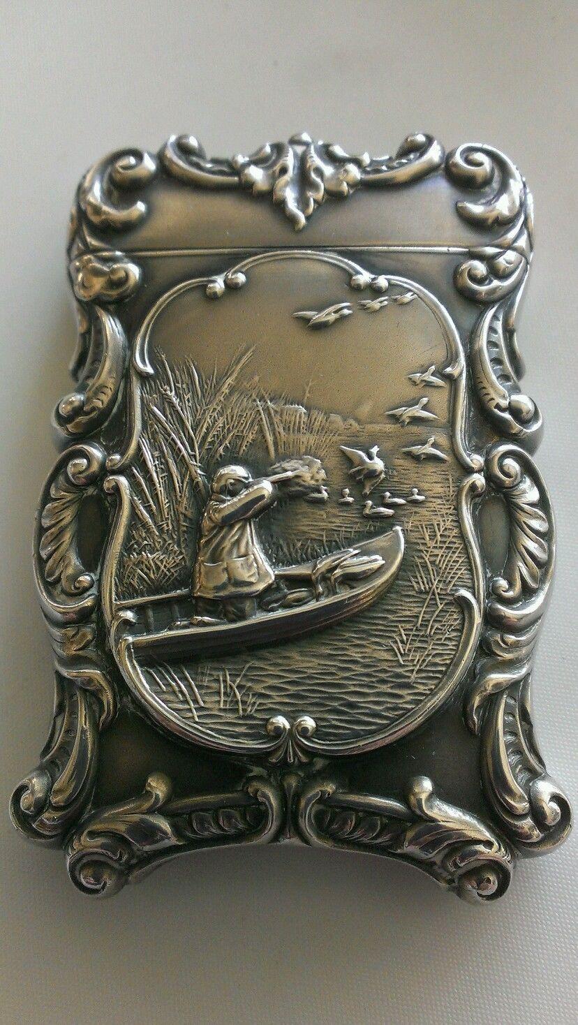 Antique Fancy Sterling Silver Duck Bird & Hunting Boat