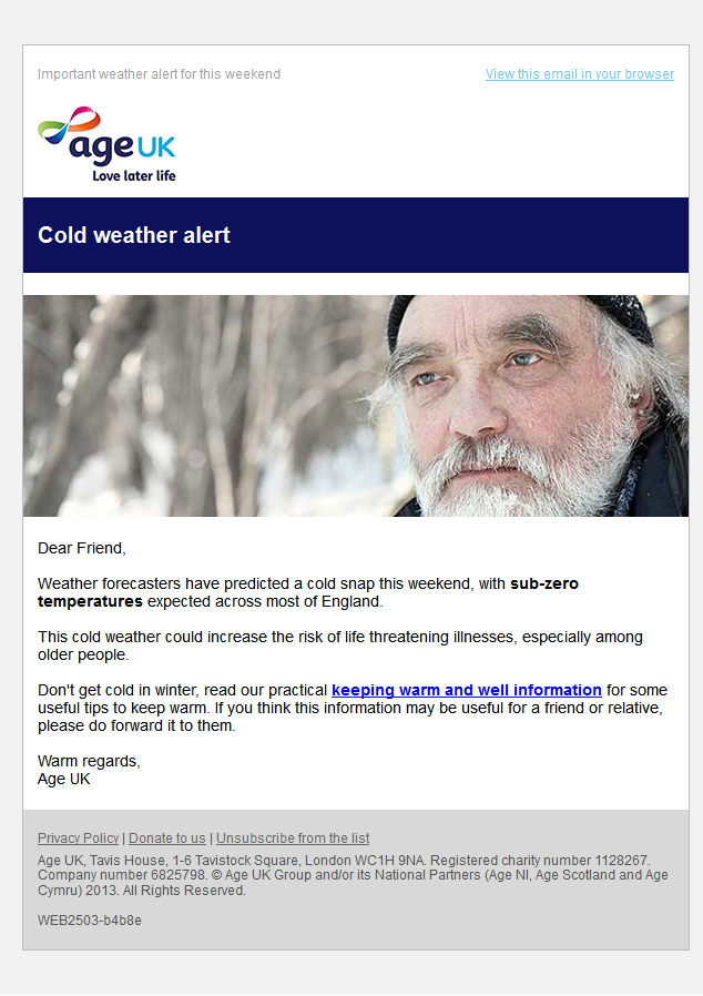 Age Uk Cold Weather Alert This Weekend Weather Alerts Cold Weather Weather