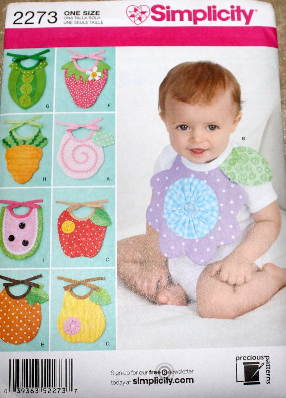 Simplicity 2273 Baby Sewing Pattern Baby Bib by EmbellishByAndrea, $3.95
