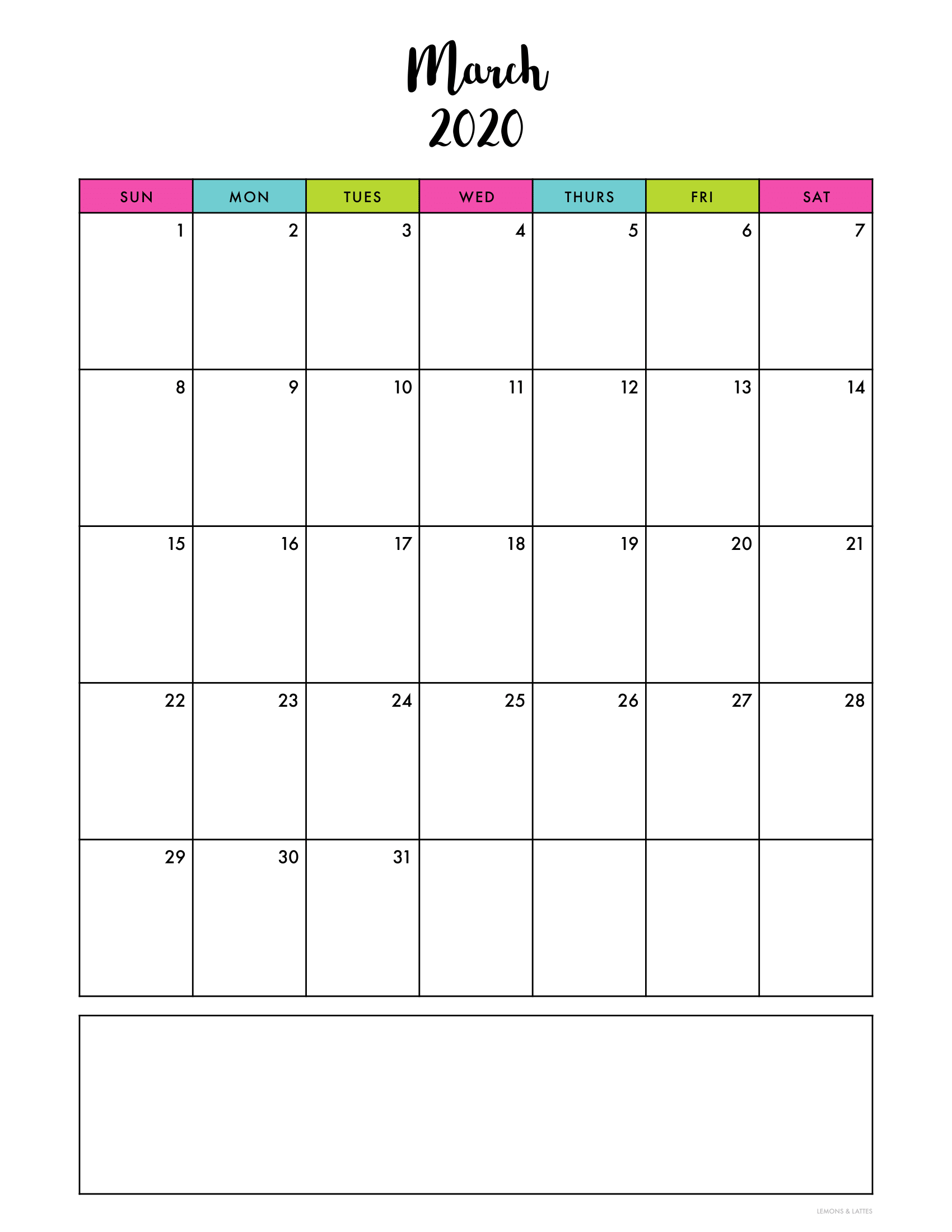 Free Printable Calendars 2020 (with dates) in 2020 Free