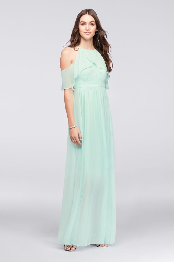 399d0af838e2 Ruffled Cold-Shoulder Chiffon Bridesmaid Dress - Seafoam (Blue), 2 ...