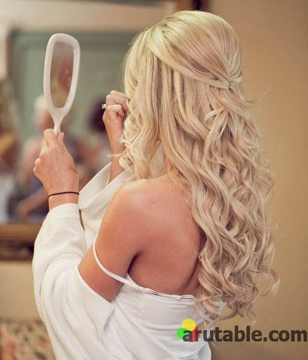 Half up wedding hairstyles with bangs