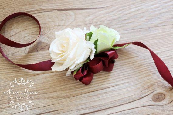 Ivory White Rose Wrist Corsage Burgundy Ribbon Wrist Corsage Prom