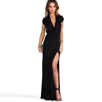 be1577e14b48 floor length strapless dress Picture - More Detailed Picture about 2015 hot  sexy lace chest deep V neck tunic side slits long paragraph short sleeved  dress ...
