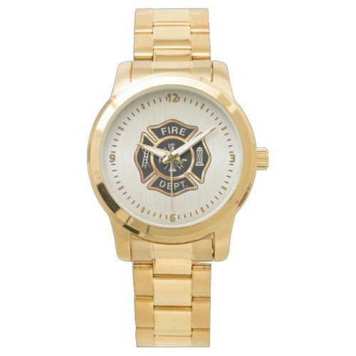 Fire Department Badge Gold Wrist Watch
