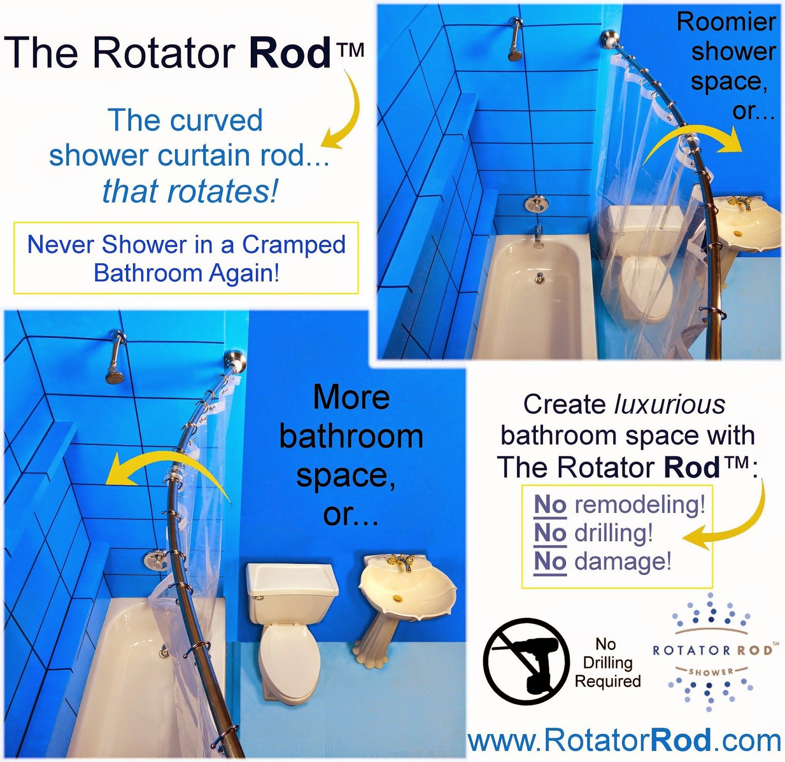 Never Drill Into Your Bathroom Walls Again With Rotator Rod S No Drill Adapters Shower Rod Shower Curtain Rods Bathroom Wall