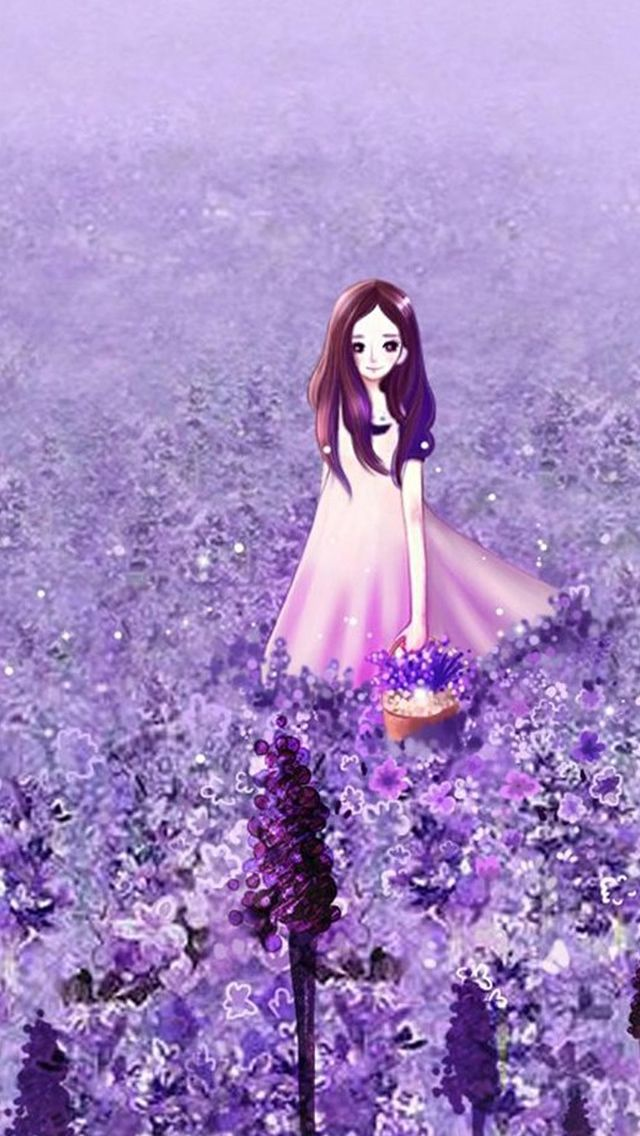 Anime Cute Girl Purple Flower Garden Iphone 5s Wallpaper Download Iphone Wallpapers Ipad Wal Purple Flowers Garden Cute Girl Wallpaper Girl Iphone Wallpaper Coolest anime flower wallpaper