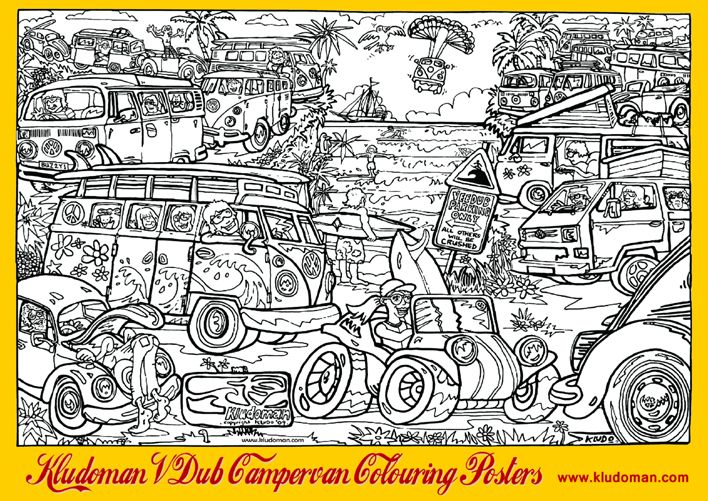 Kludoman Vw Campervan Colouring Posters A2 Amp A1 Size Large Amp Giant Colouring Posters For Kids Of