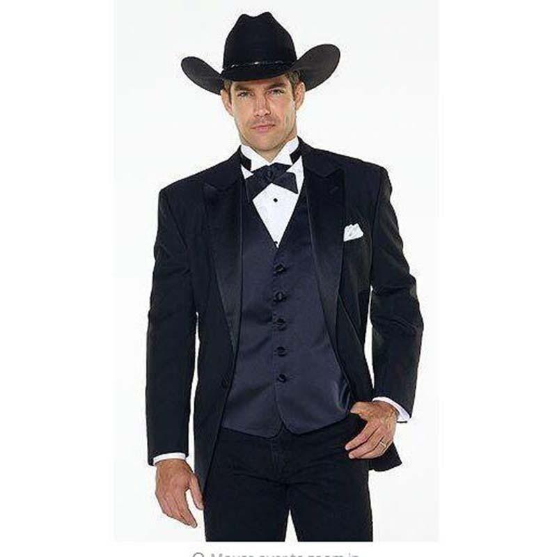 Jakcet+Pants+navy blue Vest) Notch Lapel Western Cowboy Style mens ...