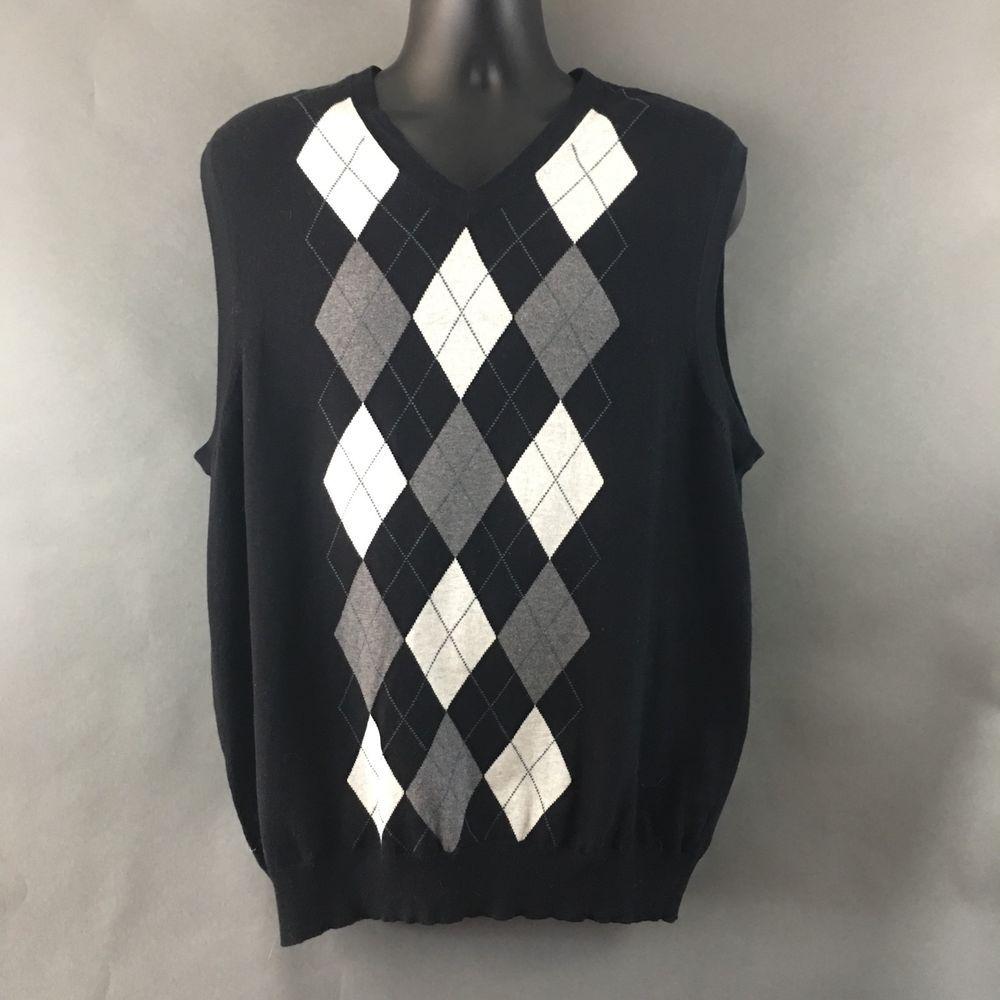 Men's XXL Argyle V-Neck Sweater Vest~Cotton Cashmere Blend ...