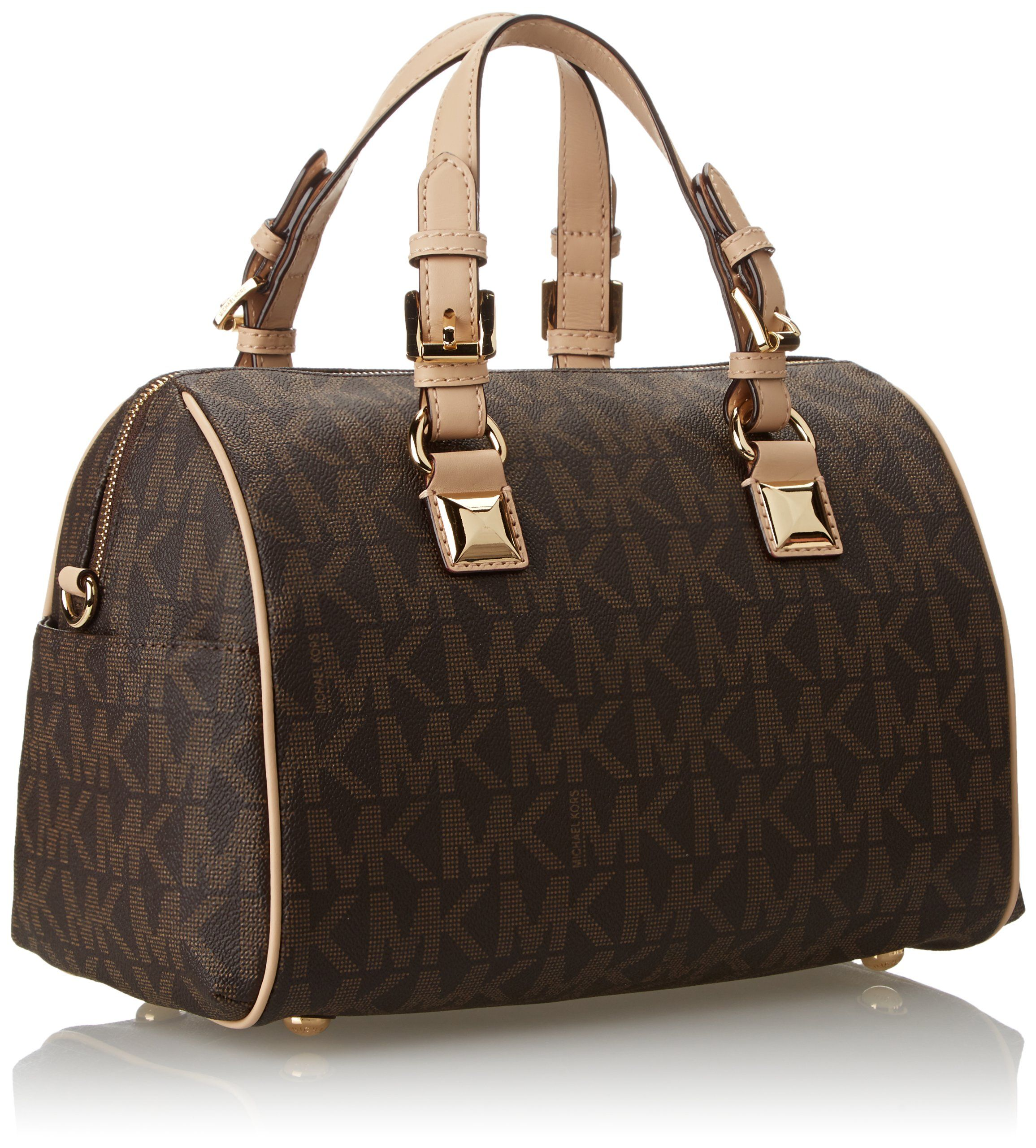 04c9e914110c Michael Kors Signature Print Satchel Handbag Bag 30F2GGCS2B Brown ...