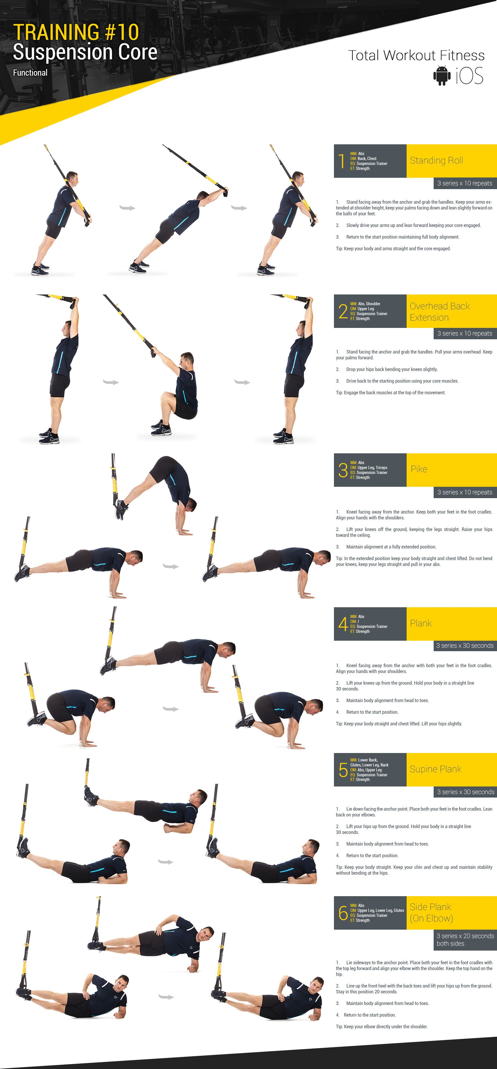 Training 10 Suspension Core Total Workout Fitness Trx Ejercicios Ejercicios De Entrenamiento Rutinas De Entrenamiento