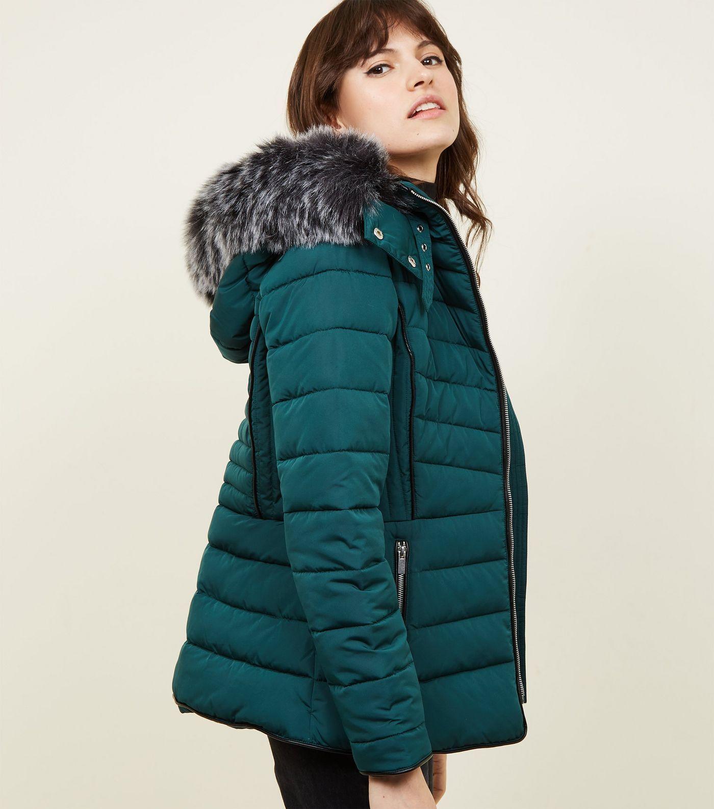 Black Faux Fur Trim Hooded Puffer Jacket Coats jackets