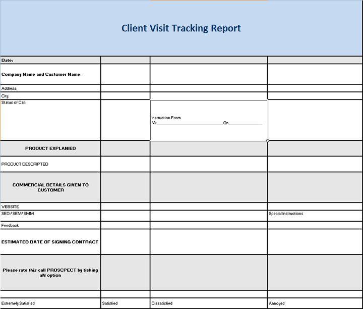 Client Visit Tracking Report Rakesh Pinterest Template