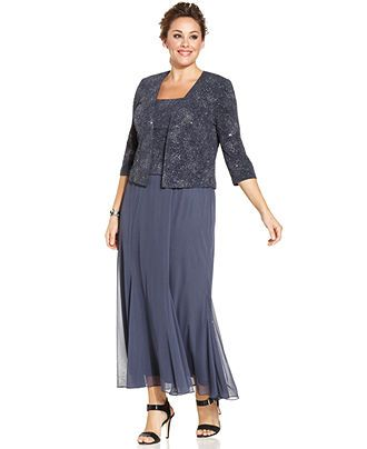 Alex Evenings Plus Size Sleeveless Glitter Gown And Jacket Plus