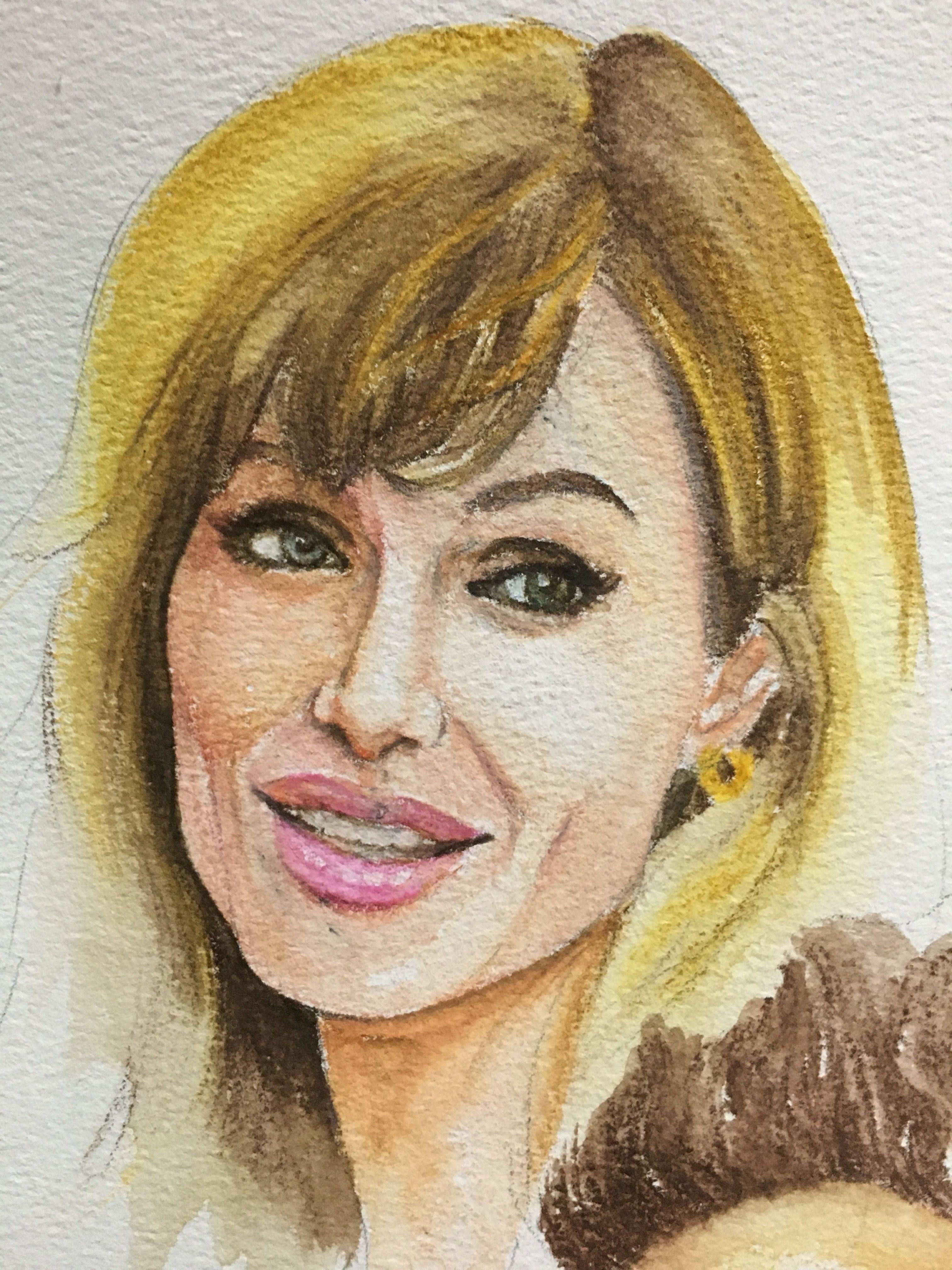 Angelina jolie watercolor pencil portrait paintings in 2019