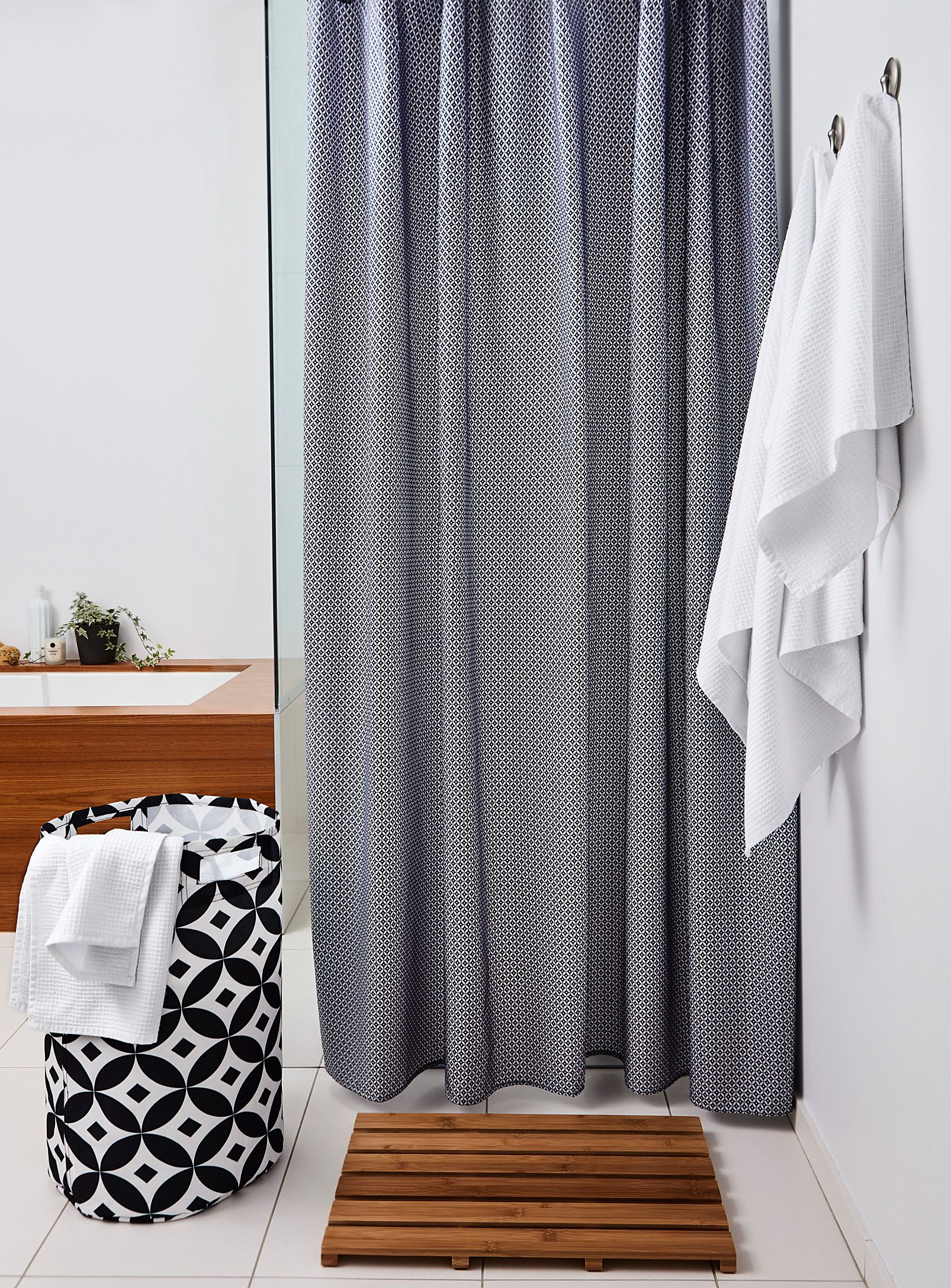 Hookless® Waffle Fabric Shower Curtain and Snap-in Liner
