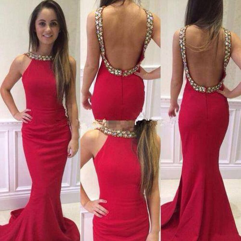 Sexy 2016 Rot Abendkleider Kristall Perlen Satin Mermaid Backless ...