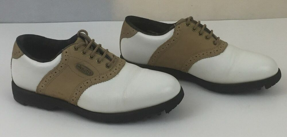 Details About Footjoy Soft Joys Spikeless Womens Sierra Golf Shoes 98776 Size 7 5 M White Tan In 2020 Womens Golf Shoes Golf Fashion Golf Gloves