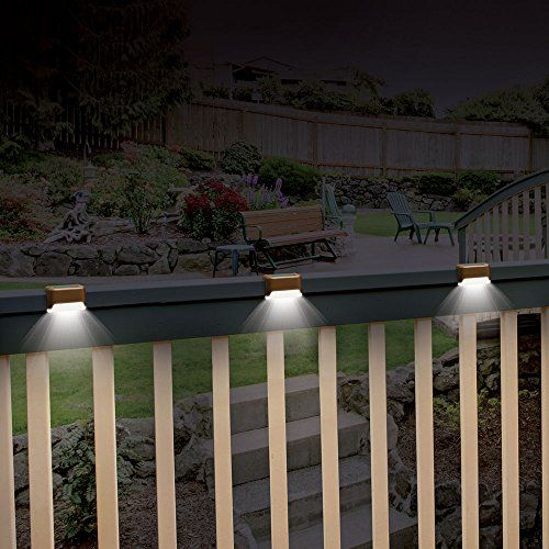 ideaworks solar powered deck step lights 3 pack wall mount patio rail outdoor lamp light