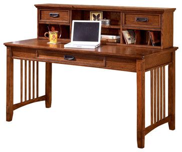Mission Style Writing Desk W Low Hutch Craftsman Desks 1185